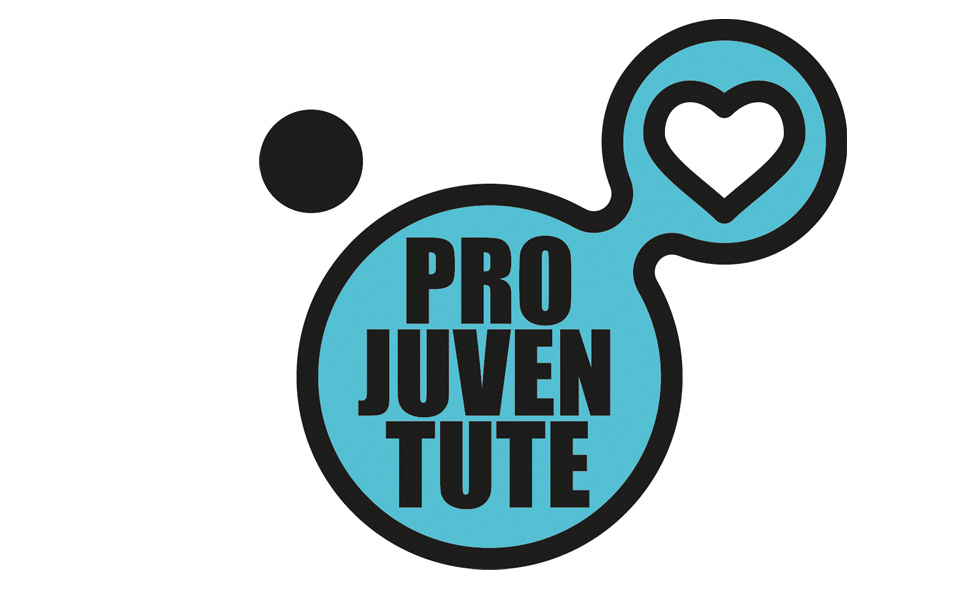 Pro Juven Tute logo- Black letters on a teal background of two circles attached together, one containing a heart shaped cut out.
