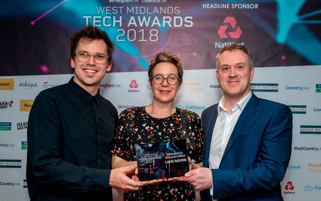 Anne and Dom accepting the 'West Midlands Tech Award 2018 for Innovation in Arts and Culture' for their work on Open Citizens. Event took place at ICC, Birmingham.