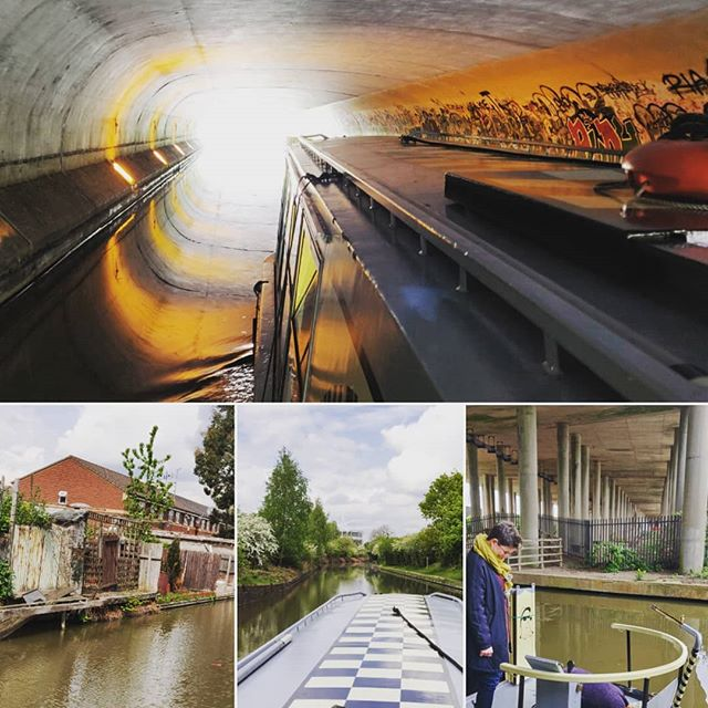 A number of images grouped as one, all relating to the canal - a chequered boat top, a boat moving through a tunnel in the sunset, the water with fencing running aside it and a picture of Anne watching someone sow seeds.