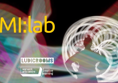 Marketing image for MI:Lab - Silhouette of an individual infront of a spiral pattern in white in bottom right corner. Ludic Rooms and Warwick Art Centre Creative Learning logos in left hand bottom corner. Various colours merged into the background with MI:lab written in orange and in large on the top left.
