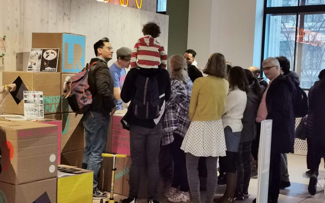 A group of people getting involved in 'Permission to play' at the Wellcome Collection in London.