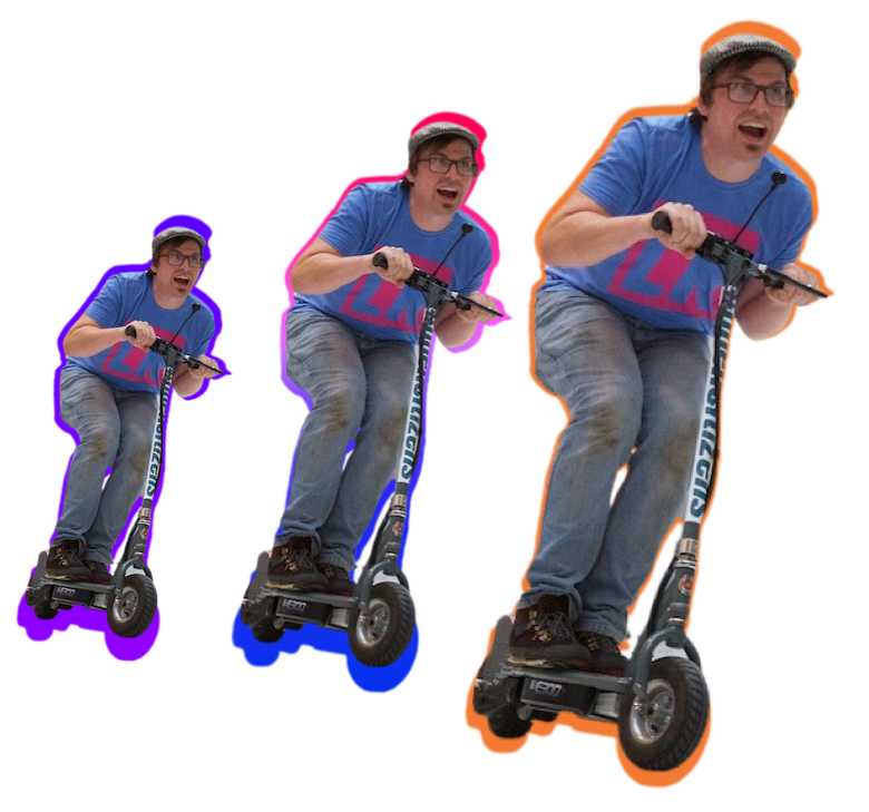Dom enjoying himself on an electric scooter. There are three images of Dom in the same pose, images get bigger as if Dom is coming towards you.